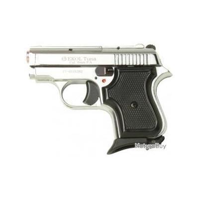 NOUVEAU!! Pistolet de Défense Ekol Tuna Chromé Cal. 8mm 6 Coups + Malette