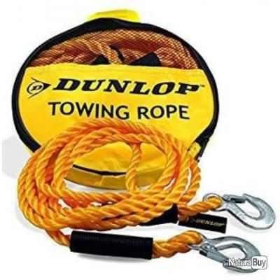 Câble Corde De Traction Remorquage Automobile Dunlop 3000kg , 4M 2 Crochets REF157