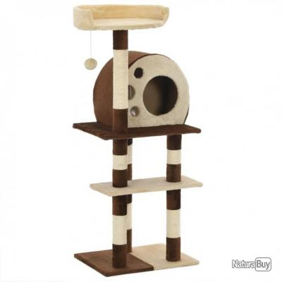 Arbre à chat avec griffoirs en sisal 127 cm Beige et marron 69490