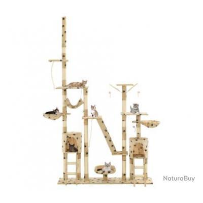 Arbre à chat et griffoirs 230-250 cm Empreintes de pattes Beige 69495