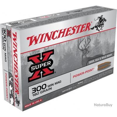 Munitions WINCHESTER POWER POINT 300WM 180gr 11.6g PAR 20