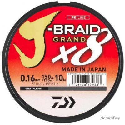 Tresse Daiwa J-Braid Grand X8 Gris - 135 m - 18/100 - 12 kg