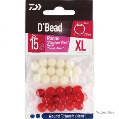 Combo Perles Giant Daiwa D'Bead - XL / Rouge et phospho / Ronde