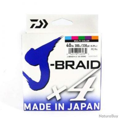 Tresse Daiwa J-Braid X4 Multicolore - 300 m - 19/100 - 10,2 kg