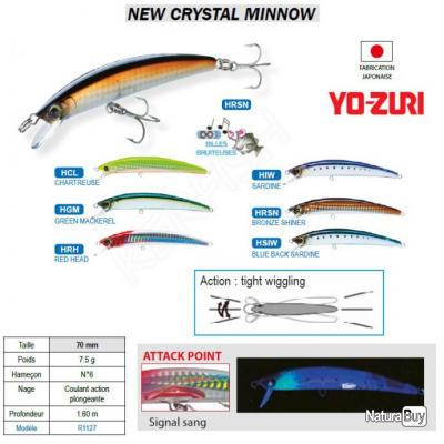 NEW CRYSTAL MINNOW YO-ZURI Bronze Shiner