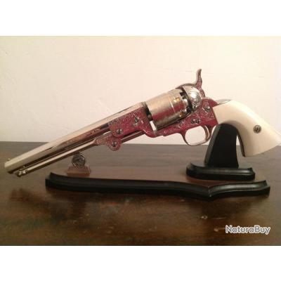 Colt Navy 1851 Nickelé Cal 44 Jesse James Poudre noire