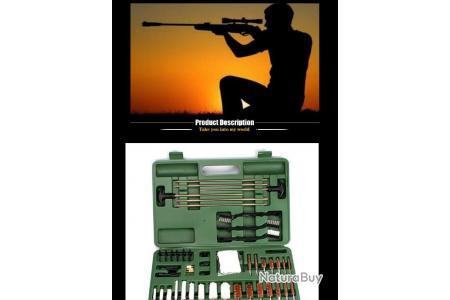 valise 76 pcs Kit nettoyage et entretien pour pistolet fusil arme de poing