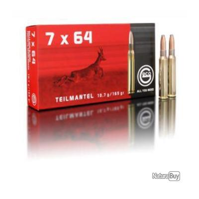 Munitions GECO cal. 7x64 demi blindée Teil Mantel 10.7g 165gr par 20