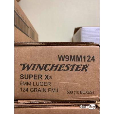 MUNITION WINCHESTER 9mm LUGER FMJ 124G/8G X500