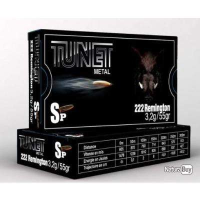 Munitions TUNET METAL cal.222rem SP 3,2 g par 20
