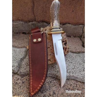 Couteau de Chasse Bowie Manche Bois de Cerf Lame en Acier 440 Etui CUir