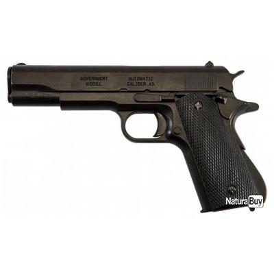 PISTOLET AUTOMATIQUE .45 M1911 A1 USA METAL NOIR DE LA SECONDE GUERRE MONDIALE WWII COLLECTION