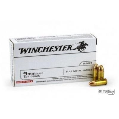 Munitions Winchester Cal.9mm Luger SUPER FMJ 124gr PAR 500