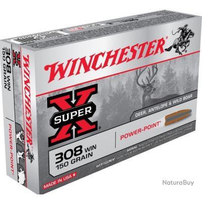 Munition Balles Winchester Power Point Super X 308win 150gr 9,72g par 20