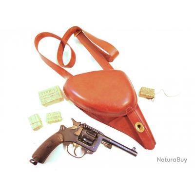 Etui cuir pour revolver 1892 avec bandouliere modèle jambon fauve