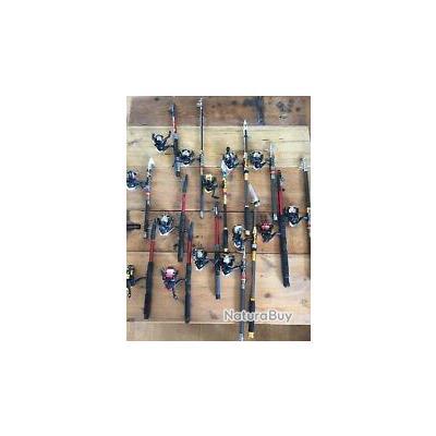 Lot de 10 cannes à pêche avec moulinet pour les carnassiers + nbx accessoires