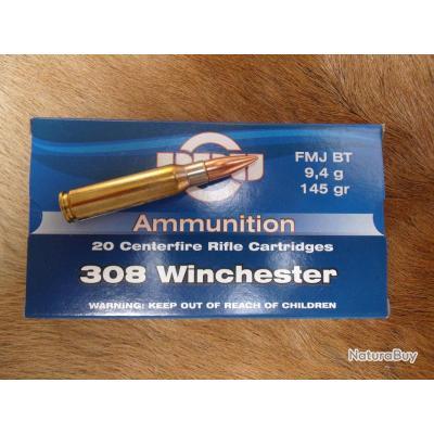 cartouches PARTIZAN cal.308 winchester 145grains/9,4g    FMJ/blindée   le lot de 300 cartouches