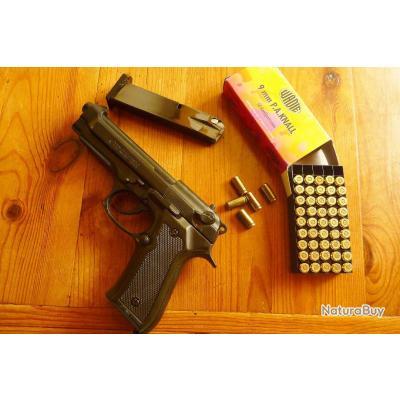 """Pistolet d'alarme Kimar Type """"Beretta 92F """" bronzé noire + cartouches à blanc 9mm. Jamais servi."""