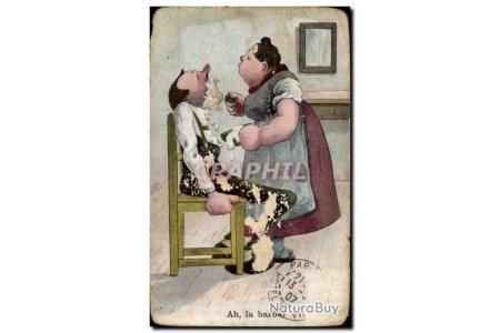 Carte Postale Ancienne Humour Ah La Barbe Coiffeur Barbier