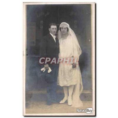CARTE PHOTO Fantaisie - Couple - marriage - weeding - bride - groom - Carte Postale Ancienne