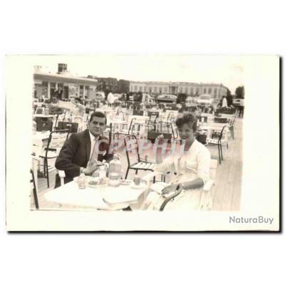CARTE PHOTO Fantaisie - Couple - lunch - restaurant - Carte Postale Ancienne