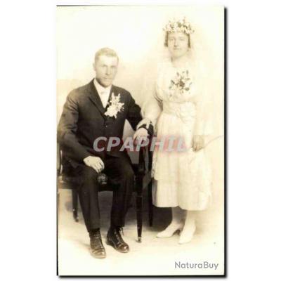 CARTE PHOTO Fantaisie - Couple - marriage - wedding - bride - groom - Carte Postale Ancienne
