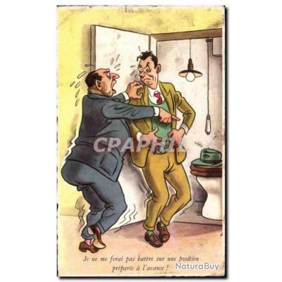 Carte Postale Ancienne Illustrateur Humour Je ne me ferai pas battre sur une position preparee a l&#