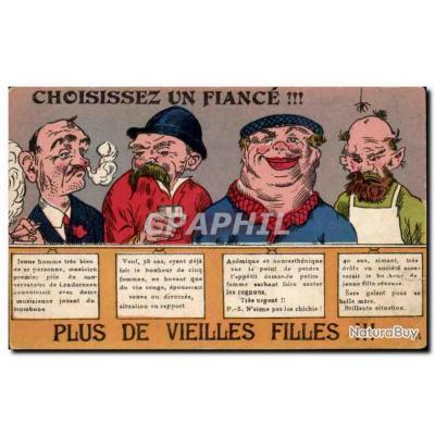 Carte Postale Ancienne Fantaisie Choisissez un fiance ! Plus de vieilles filles ! Humourn
