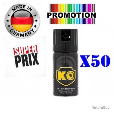 Promo!! 50 x Bombe Lacrymogène GAZ CS concentré 40ml Made In Allemagne
