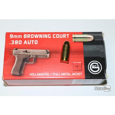 100 cartouches geco cal 380 auto - 9 mm browning court - 95 gr