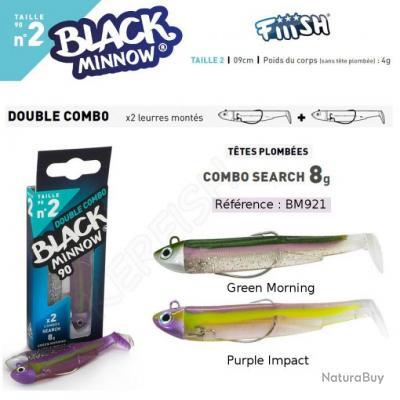 DOUBLE COMBO BLACK MINNOW FIIISH 9 cm / 8 g Green Morning - Purple Impact