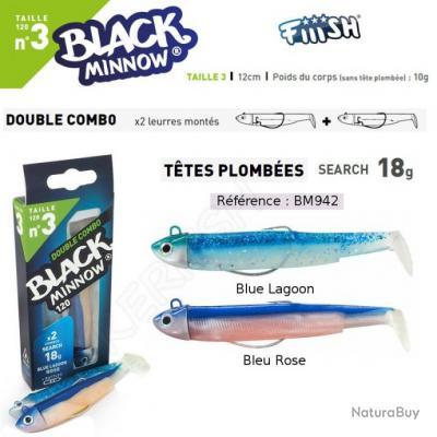 DOUBLE COMBO BLACK MINNOW FIIISH Blue lagoon - Bleu Rose 12 cm / 18 g