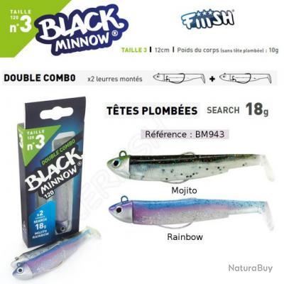 DOUBLE COMBO BLACK MINNOW FIIISH Mojito - Rainbow 12 cm / 18 g