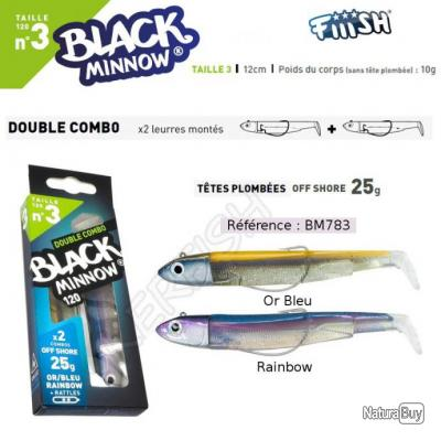 DOUBLE COMBO BLACK MINNOW FIIISH Or Bleu - Rainbow 12 cm / 25 g