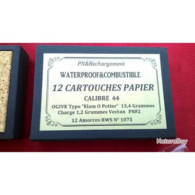 """1 Boite 12 Cartouches Papier Cal 44 Type """"Elam O.Potter"""" avec fioles d'amorces (idéal 1858)"""