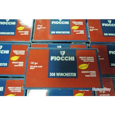 Lot de 10 boites de 308Winch FIOCCHI 147grs FMJ