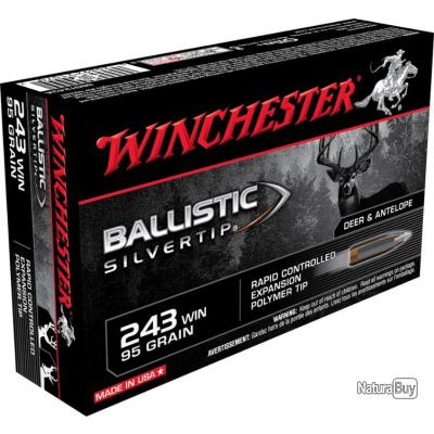 20 MUNITIONS WINCHESTER 243 WIN 95 GRAINS BALLISTIC SYLVERTIP