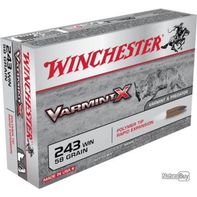 20 MUNITIONS WINCHESTER VARMINT X 243 WIN 58 GRAINS