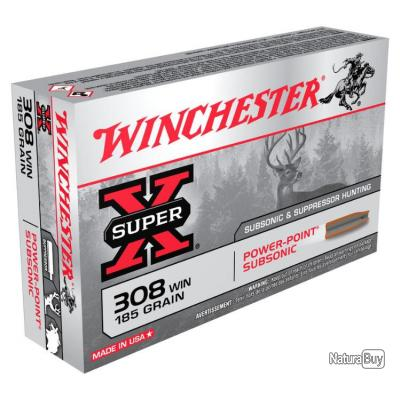 Promo 20 Munitions WINCHESTER cal 308 Win 185gr Power Point Subsonic