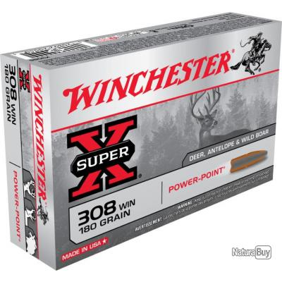 PROMO 20 Munitions WINCHESTER cal 308 Win 180gr Power Point