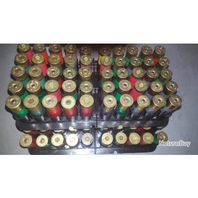 Lot de 165 cartouches calibre 16 beaucoup de Vouzelaud + boite rangement