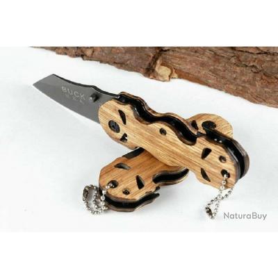 """Couteau Compact """"Buck"""" Lame Acier 6 Cm Manche Bois 9 Cm Oudoor Collection"""