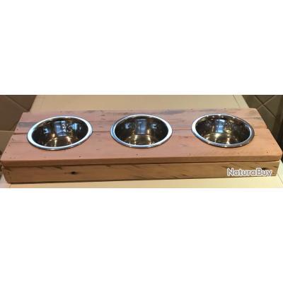 3 Gamelles inox surélevées 5cm pour chats en bois de palette finition vernis - Création unique