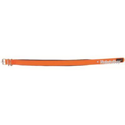 Collier Luxe pour Chien | Doublure souple | 2 Boucles | Coloris orange | 60 x 2,5 cm