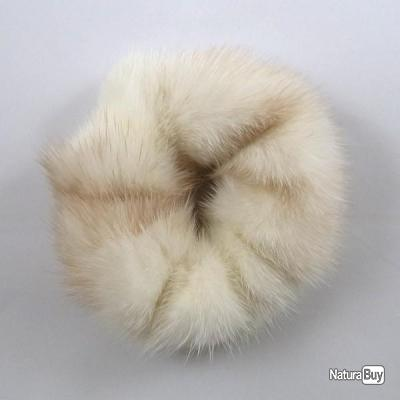 Bracelet - chouchou en Vison - Blanc crème