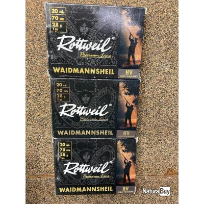 30 Cartouches Rottweil  20/70 Waidmannsheil HV N°5  Déclassées -50%