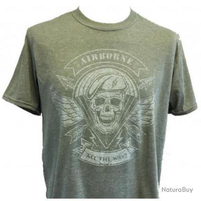 Tee shirt Jersey vert vieilli Airborne All The Way