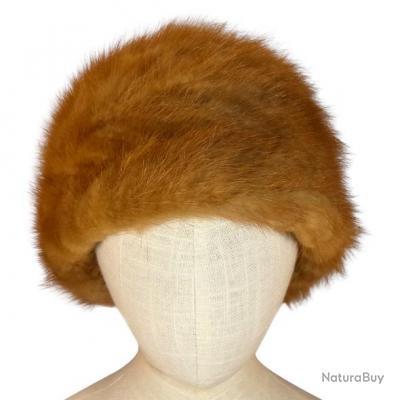 Chapeau d'hiver en véritable fourrure de Vison - Beige