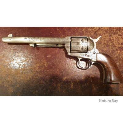 """Colt Peacemaker 1873, 7""""1/2, magnifiquement gravé, calibre 45 Colt, fabrication de 1882"""
