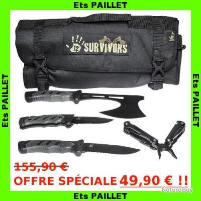 PRIX SACRIFIÉ: Kit survie couteaux et outils + étui transport 12Survivors/Sightmark HAUTE QUALITÉ !!